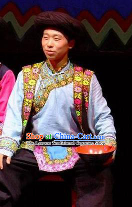 Phoenix Flying Qiang Dance Traditional Chinese Qiang Ethnic Minority Youth Dance Costumes and Headwear for Men