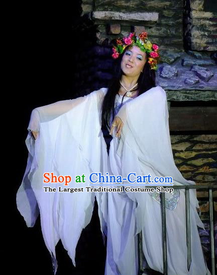 Phoenix Flying Qiang Dance Traditional Chinese Classical Dance White Dress and Headwear for Women
