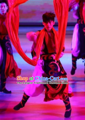 Phoenix Flying Qiang Dance Traditional Chinese Qiang Ethnic Minority Dance Costumes and Headwear for Men