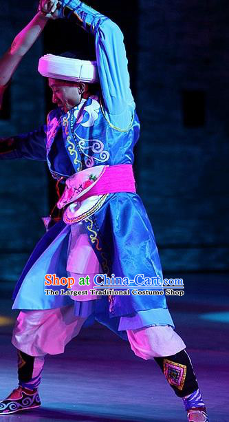 Phoenix Flying Qiang Dance Traditional Chinese Qiang Ethnic Minority Folk Dance Blue Costumes and Headwear for Men