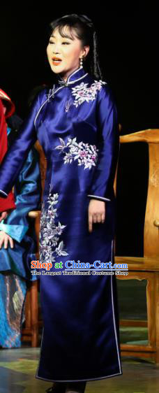 Traditional Chinese Drama Tian Ming Classical Dance Royalblue Costume and Headwear for Women