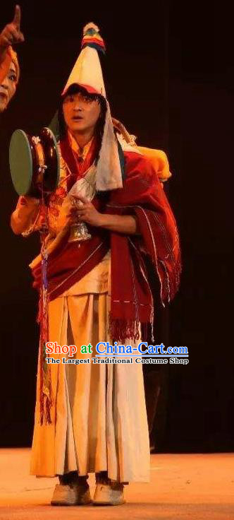 Lang SaWenBo Traditional Chinese Tibetan Nationality Monk Stage Performance Costumes and Headwear for Men