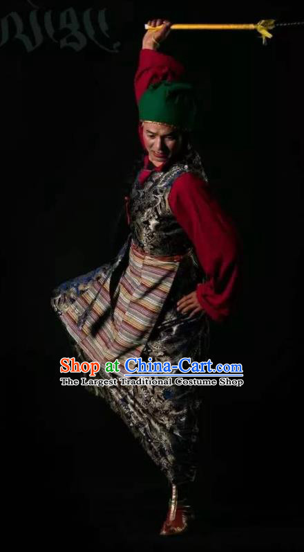 Lang SaWenBo Traditional Chinese Tibetan Nationality Stage Performance Black Costumes and Headwear for Men