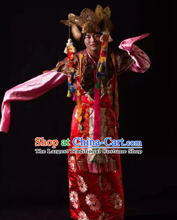 Lang SaWenBo Traditional Chinese Tibetan Nationality Stage Performance Red Costumes and Headwear for Men