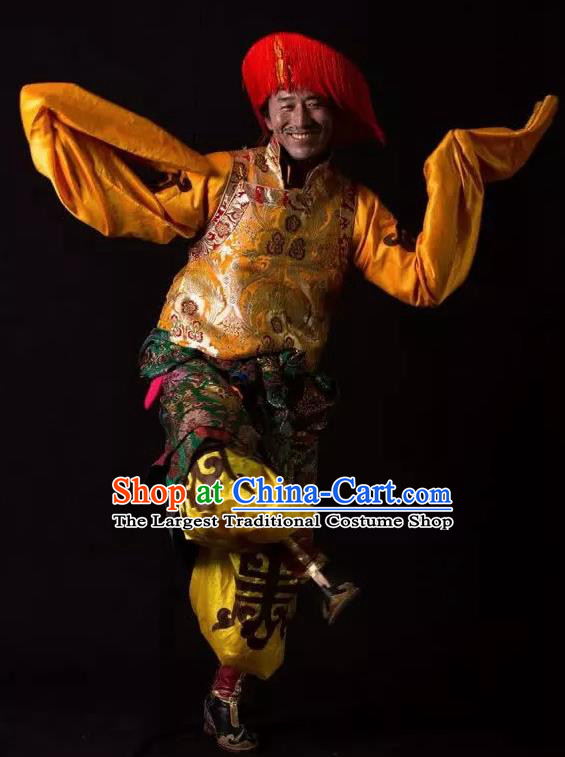 Lang SaWenBo Traditional Chinese Tibetan Nationality Stage Performance Golden Costumes and Headwear for Men