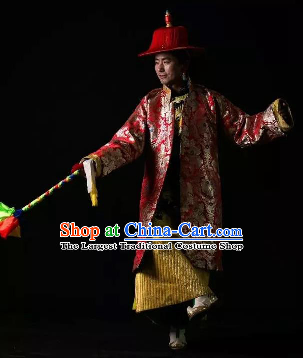 Lang SaWenBo Traditional Chinese Zang Nationality Stage Performance Red Costumes and Headwear for Men