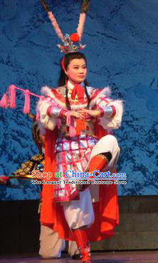 Bai Tu Ji Traditional Chinese Shaoxing Opera Takefu Stage Performance Costumes and Headwear for Men