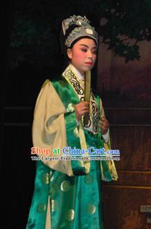 Bai Tu Ji Traditional Chinese Shaoxing Opera Niche Stage Performance Green Costumes and Headwear for Men