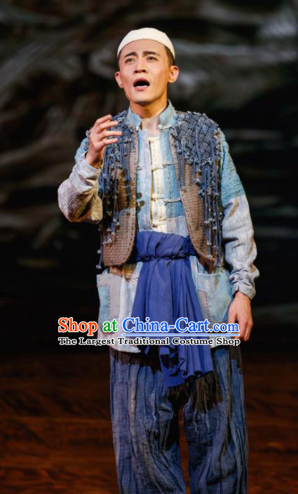 Flowers and Trumpeter Traditional Chinese Hui Nationality Stage Performance Blue Costumes and Headwear for Men