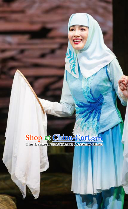Flowers and Trumpeter Traditional Chinese Hui Nationality Blue Dress Stage Show Costume and Headwear for Women
