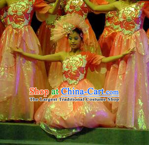 Phoenix Flying Qiang Dance Traditional Chinese Classical Dance Pink Dress and Headwear for Women