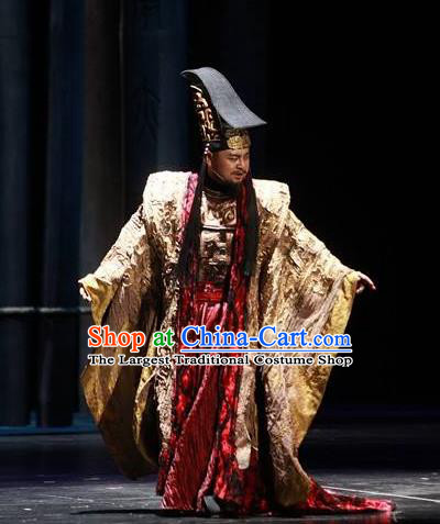 The Book of Songs Cai Wei Traditional Chinese Ancient King Stage Performance Costumes and Headwear for Men