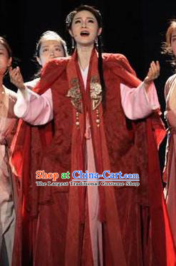 The Book of Songs Cai Wei Traditional Chinese Classical Dance Red Dress Stage Show Costume and Headdress for Women
