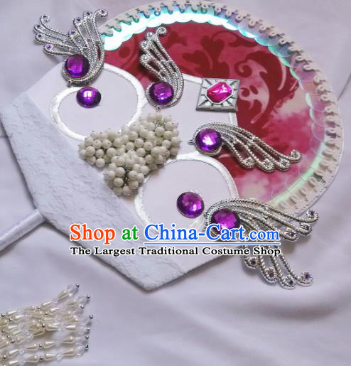 Traditional Chinese Cosplay Palace Fans Hanfu Swordsman Fan for Women