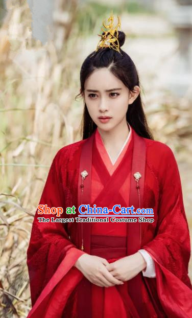 Ancient Chinese Taoist Nun Wen Qing Red Hanfu Dress Drama The Untamed Female Swordsman Costumes for Women