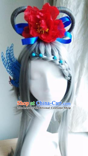 Traditional Chinese Cosplay Swordsman Grey Wigs and Headwear for Women