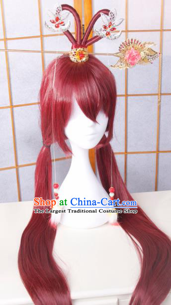 Traditional Japanese Cosplay Fairy Red Wigs and Hair Accessories for Women