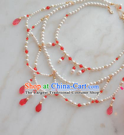 Traditional Chinese Hanfu Pearls Necklace Ancient Princess Jewelry Accessories for Women