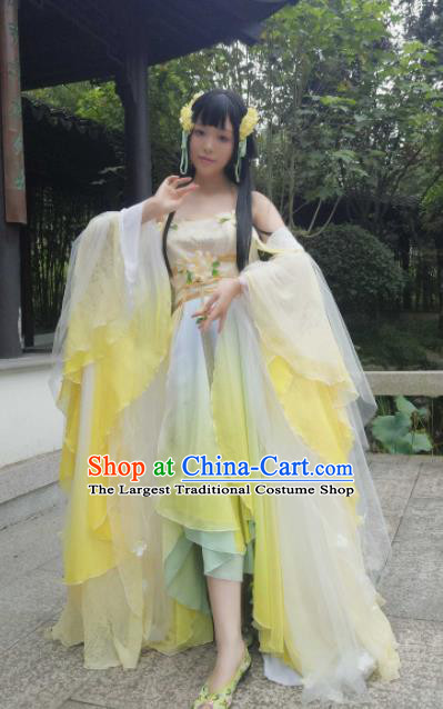 Chinese Cosplay Princess Yellow Dress Ancient Female Swordsman Heroine Costume for Women