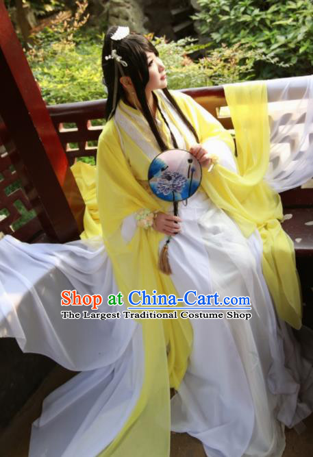 Traditional Chinese Cosplay Female Swordsman Yellow Dress Ancient Princess Costume for Women