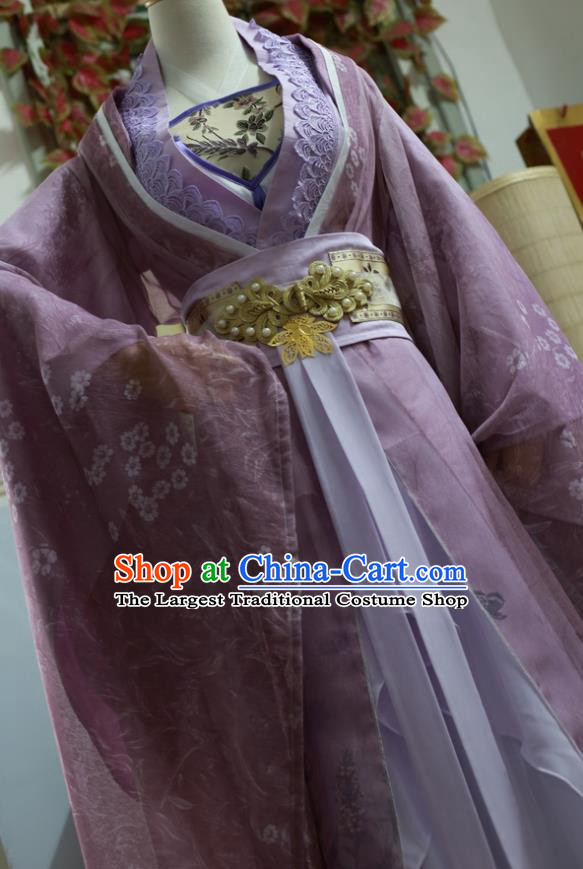 Traditional Chinese Cosplay Female Swordsman Purple Dress Ancient Princess Costume for Women