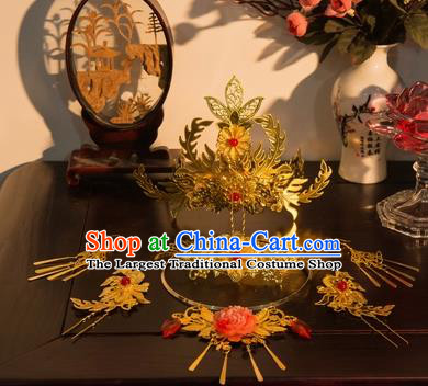 Traditional Chinese Cosplay Princess Golden Hairpins Ancient Bride Phoenix Coronet Hair Accessories for Women