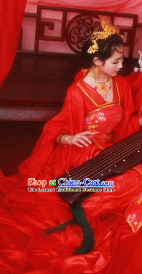 Traditional Chinese Cosplay Wedding Bride Red Dress Ancient Royal Princess Costume for Women
