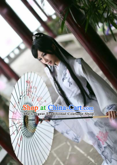 Traditional Chinese Cosplay Swordsman White Clothing Ancient Prince Nobility Childe Costume for Men