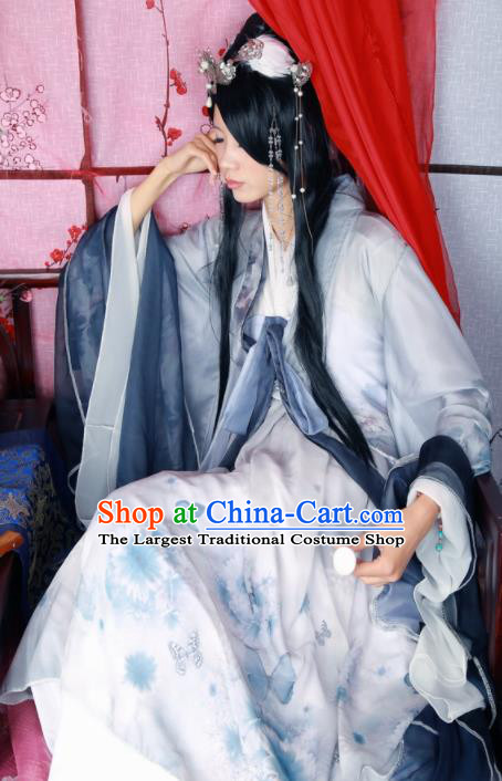 Traditional Chinese Cosplay Female Knight Swordsman Grey Dress Ancient Princess Costume for Women