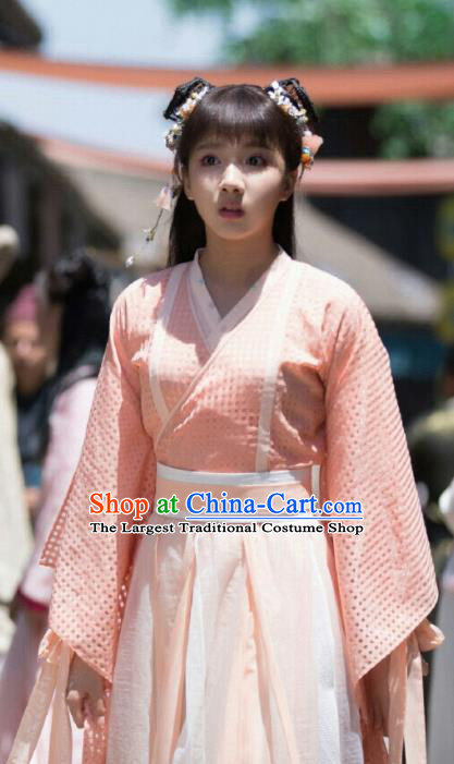 Ancient Chinese Song Dynasty Nobility Lady Pei Jing Pink Hanfu Dress Drama Young Blood Female Swordsman Costumes for Women