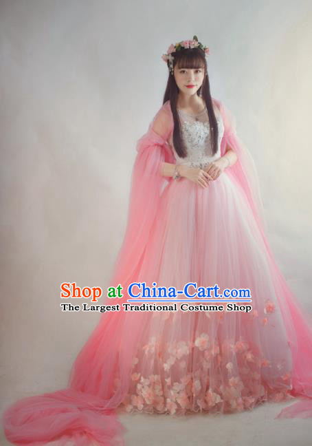 Chinese Flying Apsaras Classical Dance Pink Dress Ancient Princess Peri Costume for Women