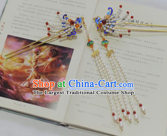 Traditional Chinese Classical Pearls Phoenix Tassel Hairpins Ancient Princess Hanfu Hair Accessories for Women