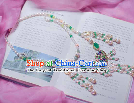 Traditional Chinese Hanfu Tang Dynasty Pearls Necklace Ancient Princess Necklet Accessories for Women