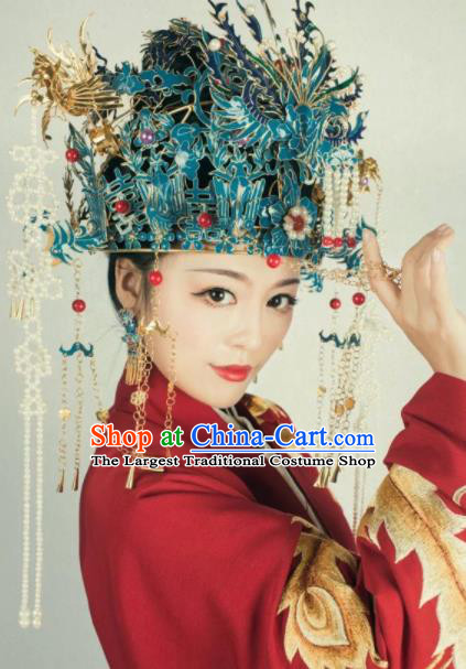 Traditional Chinese Ming Dynasty Phoenix Coronet Hairpins Ancient Queen Hanfu Hair Accessories for Women