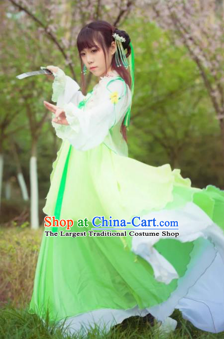 Chinese Tang Dynasty Female Swordsman Green Dress Ancient Princess Peri Costume for Women