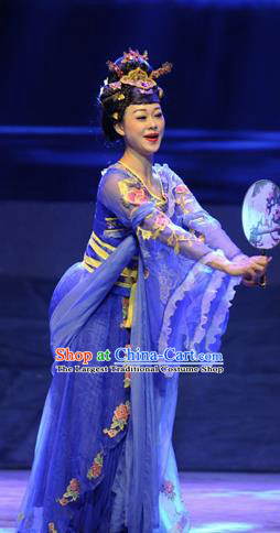 Chinese Drama Dragon Boat Festival Classical Dance Royalblue Dress Stage Performance Costume and Headpiece for Women