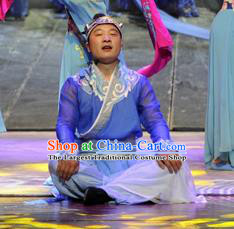 Chinese Drama Dragon Boat Festival Classical Dance Blue Clothing Stage Performance Dance Costume for Men