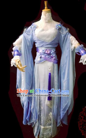 Chinese Cosplay Heroine Female Swordsman Blue Dress Ancient Princess Peri Costume for Women