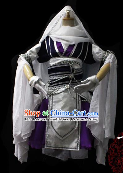 Chinese Cosplay Fairy Princess Purple Short Dress Ancient Female Swordsman Knight Costume for Women