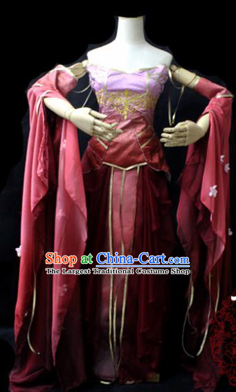 Chinese Cosplay Fairy Princess Wine Red Dress Ancient Female Swordsman Knight Costume for Women