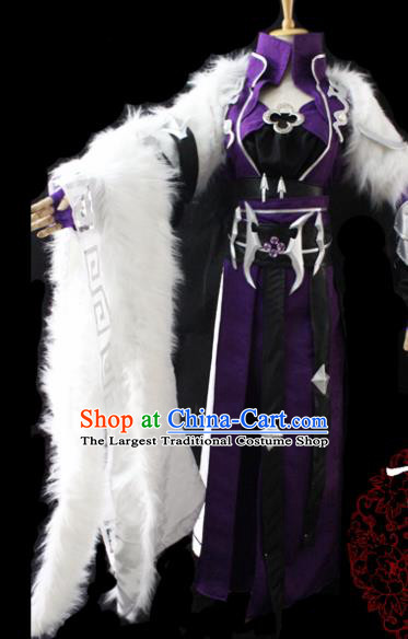 Chinese Cosplay Fairy Princess Purple Dress Ancient Female Swordsman Knight Costume for Women