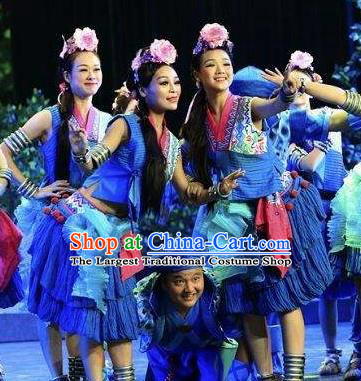 Chinese Drama Dragon Boat Festival Folk Dance Blue Dress Stage Performance Costume and Headpiece for Women
