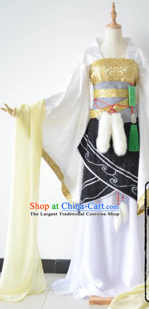 Chinese Cosplay Goddess Fairy Princess White Dress Ancient Female Swordsman Knight Costume for Women