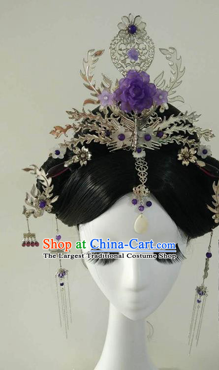 Traditional Chinese Classical Hairpins Purple Peony Phoenix Hair Crown Ancient Princess Hanfu Hair Accessories for Women