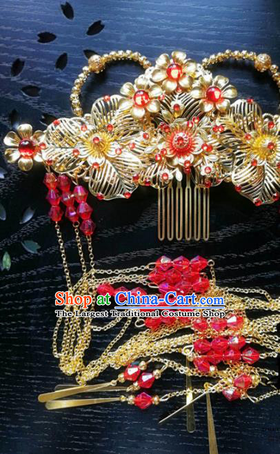Traditional Chinese Classical Golden Phoenix Coronet Hairpins Ancient Princess Hanfu Hair Accessories for Women