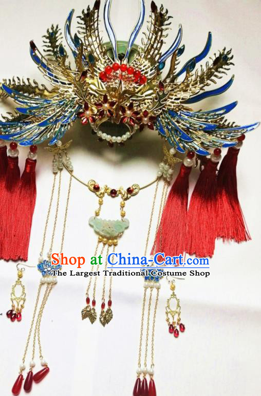 Traditional Chinese Classical Phoenix Coronet Hairpins Ancient Princess Hanfu Hair Accessories for Women