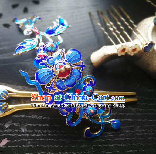 Traditional Chinese Classical Cloisonne Hair Crown Hairpins Ancient Princess Hanfu Hair Accessories for Women