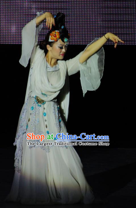 Chinese Tamrac Heaven Classical Dance White Dress Stage Performance Costume and Headpiece for Women