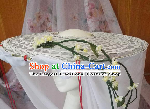Traditional Chinese Hanfu Bamboo Hat Ancient Swordsman Headwear for Women