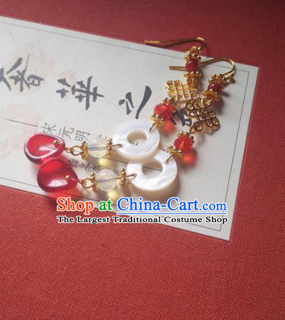 Traditional Chinese Hanfu Palace Shell Ring Earrings Classical Ear Accessories for Women